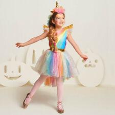 29925a95c7f5 Fantasy Girls Kids Rainbow Wing Unicorn Dress Costume Christmas Cosplay  Headwear