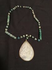 Vintage Green White Marble Carved Pendant Necklace