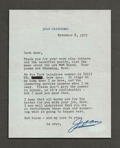 JOAN CRAWFORD ORIGINAL SIGNED LETTER JSA AUTHENTICATION