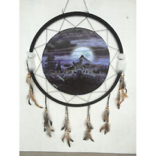 """Giant 26"""" Wolf Wolves Howl Moon Night Scene Mountain Dream Catcher Feathers 2669"""