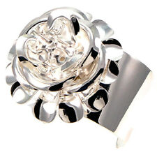 Red Carpet Dimensional 3D Rose Floral Flower Corsage Silver Catwalk Bangle Cuff
