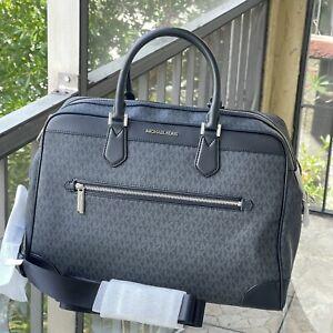 Michael Kors Large PVC Leather Luggage Duffle Carry Travel Flight Bag Tote Black