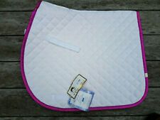 Lettia Square English Sparkly Pink Trim, White Saddle Pad With Tags