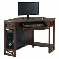 Bowery Hill Corner Computer Writing Desk in Chocolate Oak