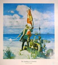 Vintage 1944 Print The Landing of Columbus N. C. Wyeth Historical Art Bookplate