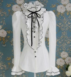 Women's Gothic Blouses Tops High Neck Ruffles Casual Long Sleeves Buttons Shirts