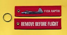 F-22A Raptor Remove Before Flight embroidered Key Ring - New