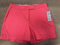 Izod Womens Bermuda Shorts Pink Size 12 Paradise Pink Hot Tropic NWT MSRP $40