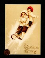 Vintage Christmas Hallmark Kids Sled Snow Sweaters Boots Hats Greeting Card New