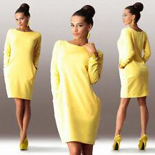 Women Winter Fall Long Sleeve Knit Bodycon Party Sweatshirt Mini Jumper Dresses