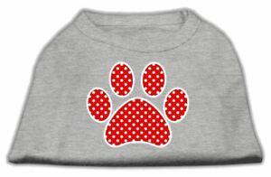 Red Swiss Dot Paw Screen Print Dog Cat Pet Puppy Shirt