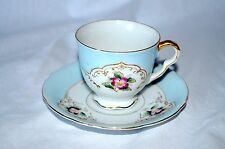 Vintage footed tea cup and saucer - Ucagco - Japan - Blue with Pink Flowers