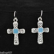 CROSS SILVERTONE W/ TURQ-BLUE RELIGIOUS CHRISTIAN FISH HOOK NWT EARRINGS #457-B
