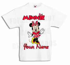 Minnie Mouse Personalised Boys, Girls White T Shirt disney 3-6mths to 12-13yrs