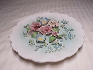"""LEFTON Capodimonte 3D Porcelain Floral 8.5"""" Wall Plate w/Foil Label 1178B"""
