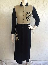 NWT MIYO Dress Thermal Waffle Knit Black Animal Print Art to Wear Sz S