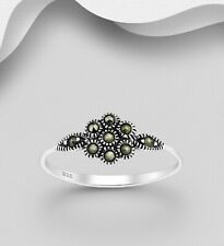 Marcasite Band Ring 925 Sterling Silver Dainty Floral Design 6us 7us 8.5us 10us