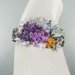 """Carving Jewelry gems Amethyst Bangle 925 Sterling Silver  Inches 2.5""""/BA02192"""