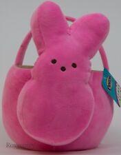 "Peeps Easter Halloween 9"" Pink Bunny Plush Tote Basket Nwt"