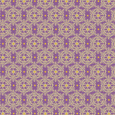 ANDOVER WINTER KISS GOLD SNOWFLAKES PURPLE WITH GOLD METALLIC COTTON FABRIC BTY