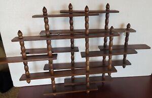 Vintage Pair (2) Wooden Hanging Curio Knick Knack Shelves Wall Rack Spindles