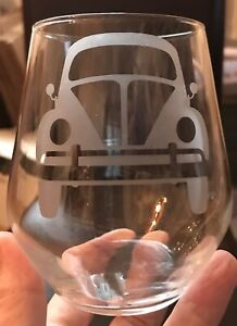 Stemless Wine Glass - VW Beetle ** See Description**