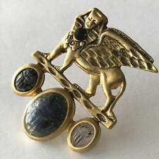 VTG Signed Egyptian Revival Scarab Beetle Carved Stone Gold Plated Pin Brooch