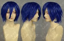 Men Short Blue Straight Hair Male Cosplay Vocaloid Anime Heat Resistant Full Wig