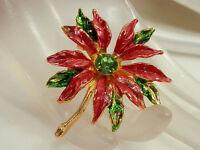 Gorgeous Vintage 1960's Red Green Enamel Rhinestone Flower Gold Tone Brooch 82JL