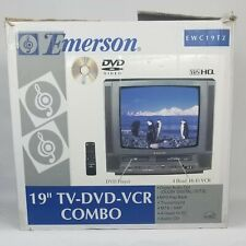 Emerson Ewc19T2 Tv/Dvd/Vcr Combo in Box W/ Remote Manual Tested & Working Gaming