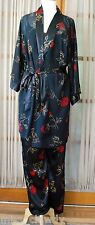 California Dynasty Chemise Tank, Pant & Robe Set Medium - Black Satin Red Roses