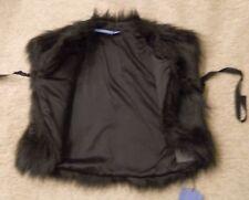 Faux Fur Wrap Vest Black Animal Holiday Vera Tie Medium Large XL New Orig $58