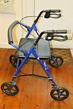 Z Tec Folding Rollator 4 Wheel Walker Mobility Walking Zimmer Frame & Seat