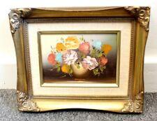 More details for soft pastel floral bouquet original oil canvas board painting - framed l23
