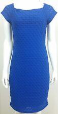 Bisou Bisou Womens Dress Size 12 Blue Short Sleeve Zipper Back Casual Stretch
