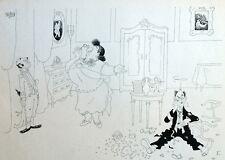 Femme violente Dispute Humour Caricature Albert Dubout 1944