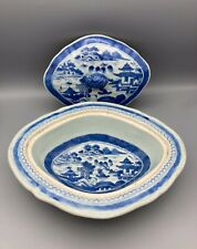 Antique Chinese Export Canton Blue & White Covered Vegetable Dish Lozenge Form