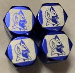 Chrome Engraved Duke Blue Devils Tire Valve Stem cap Covers 4 Pc set, #DBD2