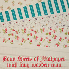 WALLPAPER FOUR Sheet with faux trim for Dollhouses - Sylvanian Families