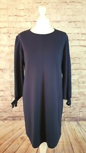 Elegant Great Plains Tunic Shift Dress Stretch Jersey Navy Tie Sleeves Size M