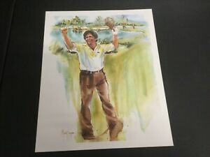 """BEAUTIFUL GOLF LITHOGRAPH PRINT """"LEE TREVINO"""" BY MARRY KENYON 1981"""