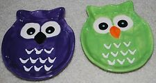 "Halloween Owl Dish Set Hannas Handiworks 5""x6"" Ceramic Candy Dishes Purple Green"