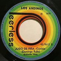 """Hear Los Andinos Jugo de Piña / Pa la Playa 1975 Latin Cumbia 1970 45rpm 7"""" ex"""