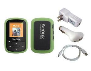 Green Skin Case + White Charger Cable for Sandisk Sansa Clip Sport Plus SDMX28