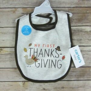 Thanksgiving Bib Carter's Unisex Baby Stay Dry Water Resistant Grey Brown New
