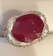 $450 NATURAL RED RUBY MAIN STONE 6.80CT!14k WHITE GOLD OVER SILVER RING SZ 7