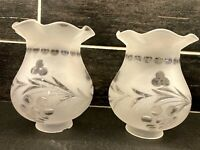 2 Vtg Frosted Clear Glass Chandelier Sconce Globe Shade Ruffled Edges Dots