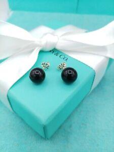 Retired Genuine Tiffany & Co Black Onyx Sterling Silver 10mm Bead Stud Earrings