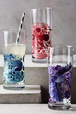"Anthropologie Glass NORDIC SUNRISE Juice DEER Red FOX Blue Poland 6.5"" NWT"