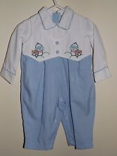 """Baby Boys Boutique """"Will'beth"""" Embroidered Snowbirds Christmas Romper Size 9M"""
